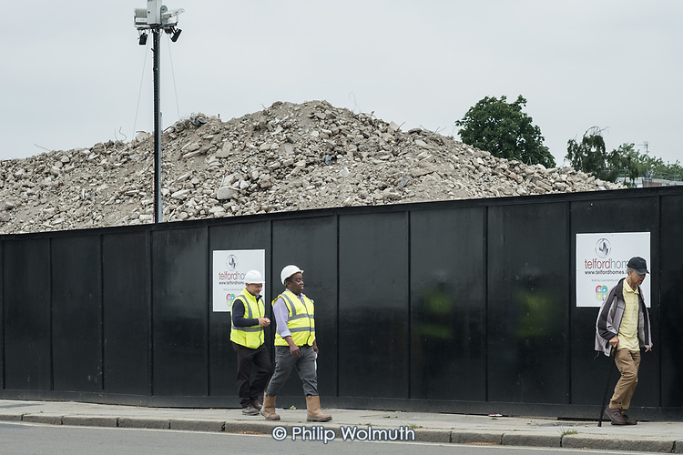 Rubble from the demolition of Gloucester House, South Kilburn Estate, London Borough of Brent.