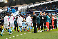 Swansea City manager Carlos Carvalhal and Swansea City players form a guard of honour for Manchester City players prior to the Premier League match between Manchester City and Swansea City at the Etihad Stadium, Manchester, England, UK. Sunday 22 April 2018