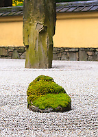 Sand and Stone Garden (Karesansui) in the Portland Japanese Garden taken in Fall with moss on rocks and racked Shirakawa sand