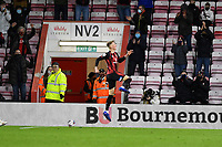 Sam Surridge of AFC Bournemouth celebrates in front of home fans after scoring the fifth goal during AFC Bournemouth vs Huddersfield Town, Sky Bet EFL Championship Football at the Vitality Stadium on 12th December 2020