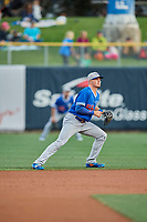 Gavin Lux (55) of the Oklahoma City Dodgers on defense during the game against the Salt Lake Bees at Smith's Ballpark on July 31, 2019 in Salt Lake City, Utah. The Dodgers defeated the Bees 5-3. (Stephen Smith/Four Seam Images)