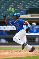 Kennie Taylor (15) of the Duke Blue Devils starts down the first base line against the Florida State Seminoles in the first semifinal of the 2017 ACC Baseball Championship at Louisville Slugger Field on May 27, 2017 in Louisville, Kentucky. The Seminoles defeated the Blue Devils 5-1. (Brian Westerholt/Four Seam Images)