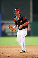 Batavia Muckdogs first baseman Eric Gutierrez (43) during a game against the West Virginia Black Bears on August 21, 2016 at Dwyer Stadium in Batavia, New York.  West Virginia defeated Batavia 6-5. (Mike Janes/Four Seam Images)