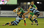 Connacht's Dave McSharry is tackled by Cardiff Blues' Gareth Anscombe<br /> Guiness Pro12<br /> Cardiff Blue v Connacht<br /> BT Sport Cardiff Arms Park<br /> 06.03.15<br /> ©Ian Cook -SPORTINGWALES
