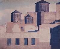 AVAILABLE FROM JEFF AS A FINE ART PRINT;<br /> <br /> AVAILABLE FROM JEFF FOR COMMERCIAL AND EDITORIAL LICENSING.<br /> <br /> Polaroid Transfer - Detail of Building Rooftops and Water Towers, Union Square, New York City, New York State, USA