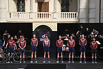 Israel Start-up Nation on stage at team presentation of the 2021 Giro d'Italia inside the Cortile d'Onore of the Castello del Valentino, on the occasion of the 160th anniversary of the Unification of Italy, Turin, Italy. 6th May 2021.  <br /> Picture: LaPresse/Fabio Ferrari | Cyclefile<br /> <br /> All photos usage must carry mandatory copyright credit (© Cyclefile | LaPresse/Fabio Ferrari)