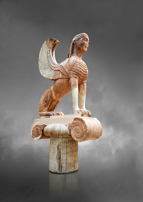 Archaic ancient Greek sculpture of a Sphinx originally on top of the column of Naxos, 570-560 BC, Delphi National Archaeological Museum.   Against grey.