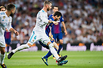 Sergio Ramos (l) of Real Madrid tackles Lionel Andres Messi of FC Barcelona during their Supercopa de Espana Final 2nd Leg match between Real Madrid and FC Barcelona at the Estadio Santiago Bernabeu on 16 August 2017 in Madrid, Spain. Photo by Diego Gonzalez Souto / Power Sport Images