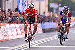 Toms Skujins (LAT) Trek-Segafredo wins the 98th edition of the Tre Valli Varesine 2018 from Thibaut Pinot (FRA) Groupama-FDJ, running 197km form Saronno to Varese, Italy. 9th October 2018.  <br /> Picture: Dario Belingheri/BettiniPhoto | Cyclefile<br /> <br /> <br /> All photos usage must carry mandatory copyright credit (© Cyclefile | Dario Belingheri/BettiniPhoto)