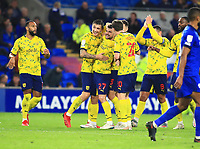 28th September 2021; Cardiff City Stadium, Cardiff, Wales;  EFL Championship football, Cardiff versus West Bromwich Albion; Alex Mowatt of West Bromwich Albion celebrates with team mates after his long range shot finds the back of the net to make it 0-3 in the 75th minute