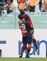 Calcio, Serie A: Juventus - Genoa, Turin, Allianz Stadium, October 20, 2018.<br /> Genoa's Daniel Bessa (behind) celebrates after scoring with his teammate Romulo during the Italian Serie A football match between Juventus and Genoa at Torino's Allianz stadium, October 20, 2018.<br /> UPDATE IMAGES PRESS/Isabella Bonotto