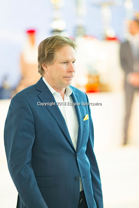 DUBAI,UNITED ARAB EMIRATES-MARCH 28: Dallas Stewart,trains Forever Unbrideled, in Dubai World Cup Post Position Draw at Meydan racecourse on March 28,2018 in Dubai,United Arab Emirates (Photo by Kaz Ishida/Eclipse Sportswire/Getty Images)