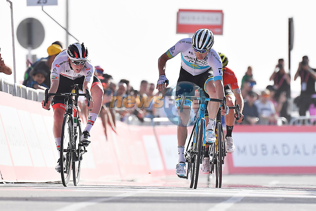 Tadej Pogacar (SLO) UAE Team Emirates just pips Alexey Lutsenko (KAZ) Astana Pro Team on the line to win Stage 5 the Al Ain Water Stage of the UAE Tour 2020 running 162km from Al Ain to Jebel Hafeet, Dubai. 27th February 2020.<br /> Picture: LaPresse/Fabio Ferrari | Cyclefile<br /> <br /> All photos usage must carry mandatory copyright credit (© Cyclefile | LaPresse/Fabio Ferrari)