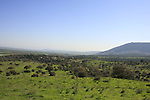 Israel, Lower Galilee. Tel Govel by Beth Keshet scenic road, Mount Tabor is in the background..