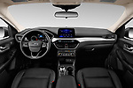 Stock photo of straight dashboard view of a 2020 Ford Escape SEL 5 Door SUV