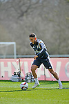 Neil Taylor in action during Wales football team training at the Vale Hotel and Resort in Cardiff today ahead of this weekend's game against Israel.<br /> Editorial use only