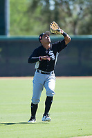 Chicago White Sox shortstop Luis Curbelo (21) prepares to catch a pop fly during an Instructional League game against the Kansas City Royals at Camelback Ranch on September 25, 2018 in Glendale, Arizona. (Zachary Lucy/Four Seam Images)