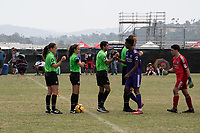 Oceanside, CA - June 23, 2019: U.S. Soccer Development Academy Summer Showcase Referees at the SoCal Sports Complex.