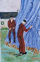 Europe/France/Bretagne/29/Finistère/Saint-Pierre-Penmarc'h: Mur peint représentant des scène de la vie bigoudène - pêcheurs et filet de pêche