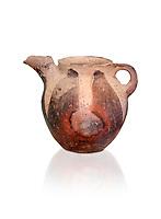Vasiliki Ware jug with characteristic mottled decorations,  Vasiliki 2300-1900 BC BC, Heraklion Archaeological  Museum., white background.
