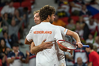 The Hague, The Netherlands, September 16, 2017,  Sportcampus , Davis Cup Netherlands - Chech Republic, Doubles : Robin Haase (NED) / Matwe Middelkoop (NED) (L) win the double and celebrate, do1-2.<br /> Photo: Tennisimages/Henk Koster