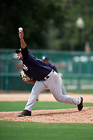 GCL Yankees West relief pitcher Nestor Oronel (59) delivers a pitch during the second game of a doubleheader against the GCL Braves on July 30, 2018 at Champion Stadium in Kissimmee, Florida.  GCL Braves defeated GCL Yankees West 5-4.  (Mike Janes/Four Seam Images)