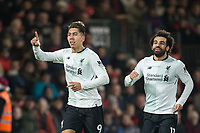 Roberto Firmino of Liverpool  celebrates his goal with Mohamed Salah of Liverpool  during the Premier League match between Bournemouth and Liverpool at the Goldsands Stadium, Bournemouth, England on 17 December 2017. Photo by Andy Rowland / PRiME Media Images.