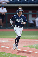 Brady Gulakowski (23) of the Liberty Flames hustles down the first base line against the Bellarmine Knights at Liberty Baseball Stadium on March 9, 2021 in Lynchburg, VA. (Brian Westerholt/Four Seam Images)