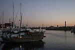 Shoreline Village Marina at Rainbow Harbor at twilight, Long Beach, CA
