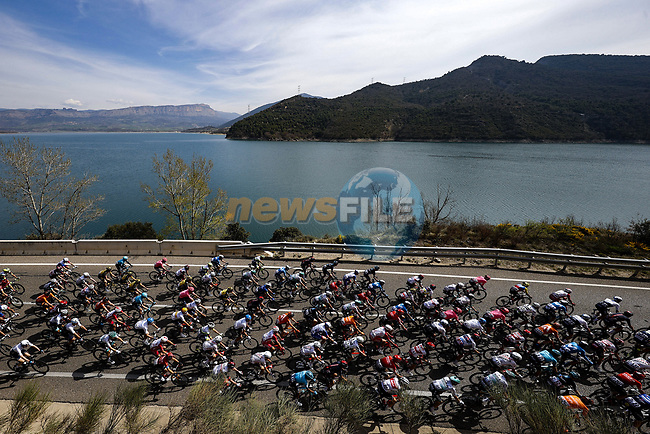 The peloton during Stage 5 of the 100th edition of the Volta Ciclista a Catalunya 2021, running 201.1km from La Pobla de Segur to Manresa, Spain. 26th March 2021.   <br /> Picture: Bora-Hansgrohe/Luis Angel Gomez/BettiniPhoto | Cyclefile<br /> <br /> All photos usage must carry mandatory copyright credit (© Cyclefile | Bora-Hansgrohe/Luis Angel Gomez/BettiniPhoto)
