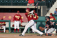 Jeremy Martinez #2 of the Southern California Trojans bats against the Oregon State Beavers at Dedeaux Field on May 23, 2014 in Los Angeles, California. Southern California defeated Oregon State, 4-2. (Larry Goren/Four Seam Images)