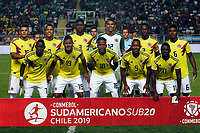 RANCAGUA - CHILE, 07-02-2019:  Jugadores de Colombia posan para una foto previo al encuentro entre Venezuela y Colombia por la fecha 4 dela fase final del Sudamericano Masculino Sub 20 Chile 2019 jugado en el estadio El Teniente de Rancagua en Rancagua, Chile. / Players of Colombia pose to a photo prior the match between Venezuela and Colombia for the date 4 of final phase of South American Men U-20 Chile 2019 played at El Teniente de Rancagua stadium in Rancagua, Chile. Photo: VizzorImage / Pablo Vera / Cont / XpressMedia
