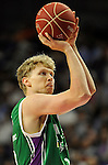 Unicaja´s Mindaugas Kuzminskas during 2014-15 Liga Endesa match between Real Madrid and Unicaja at Palacio de los Deportes stadium in Madrid, Spain. April 30, 2015. (ALTERPHOTOS/Luis Fernandez)