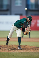 Greensboro Grasshoppers relief pitcher Alexander Manasa (28) in action against the Hickory Crawdads at First National Bank Field on May 6, 2021 in Greensboro, North Carolina. (Brian Westerholt/Four Seam Images)