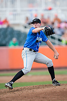 Hudson Valley Renegades relief pitcher Hunter Schryver (46) in action against the Aberdeen IronBirds at Leidos Field at Ripken Stadium on July 27, 2017 in Aberdeen, Maryland.  The Renegades defeated the IronBirds 2-0 in game one of a double-header.  (Brian Westerholt/Four Seam Images)