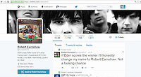"""Pictured: The altered twitter profile page of Lewys Prendergast <br /> Re: This Swansea City fan has been forced to change his name after a Twitter bet spectacularly backfired following the Euro 2016 final on Sunday.<br /> Lewys Prendergast tweeted last night: """"If Eder scores the winner I'll honestly change my name to Robert Earnshaw. Not a f*****g chance.""""<br /> The post has been retweeted more than 5,500 times, and now the 21-year-old from Aberdare has been forced to stick to his word - after Eder sealed Portugal's victory over France after replacing Renato Sanchez in the 79th minute of Sunday's final."""