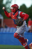 Williamsport Crosscutters catcher Jesus Posso (28) chases a runner back to third during a game against the Batavia Muckdogs on August 27, 2015 at Dwyer Stadium in Batavia, New York.  Batavia defeated Williamsport 3-2.  (Mike Janes/Four Seam Images)