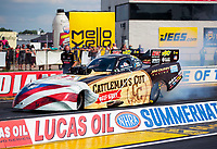 Jul 18, 2020; Clermont, Indiana, USA; NHRA funny car driver Jim Campbell during qualifying for the Summernationals at Lucas Oil Raceway. Mandatory Credit: Mark J. Rebilas-USA TODAY Sports