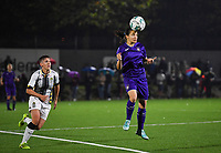 Anderlecht midfielder Stefania Vatafu (10) pictured with the header in front of midfielder Julie Challe of Sporting Charleroi during a female soccer game between Sporting Charleroi and RSC Anderlecht on the third matchday of the 2020 - 2021 season of Belgian Scooore Womens Super League , friday 2 nd of October 2020  in Marcinelle , Belgium . PHOTO SPORTPIX.BE | SPP | DAVID CATRY