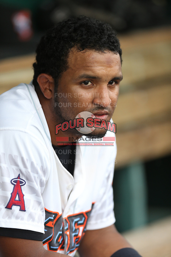 Roberto Baldoquin (21) of the Inland Empire 66ers on the bench during a game against the Stockton Ports at San Manuel Stadium on June 28, 2015 in San Bernardino, California. Stockton defeated Inland Empire, 4-1. (Larry Goren/Four Seam Images)