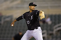 Kannapolis Intimidators starting pitcher Blake Hickman (33) in action against the Greensboro Grasshoppers at Kannapolis Intimidators Stadium on September 8, 2017 in Kannapolis, North Carolina.  The Intimidators defeated the Grasshoppers to sweep the South Atlantic League Northern Division playoffs in two games.  (Brian Westerholt/Four Seam Images)