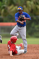 New York Mets second baseman Jorge Rivero (24) attempts to turn a double play as Steve Bean (23) slides in during a minor league spring training game against the St. Louis Cardinals on March 27, 2014 at the Port St. Lucie Training Complex in Port St. Lucie, Florida.  (Mike Janes/Four Seam Images)
