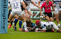 29th August 2020; AJ Bell Stadium, Salford, Lancashire, England; English Premiership Rugby, Sale Sharks versus Bristol Bears;  Marland Yarde of Sale Sharks scores a sisth try for Sale to make the score 40-7