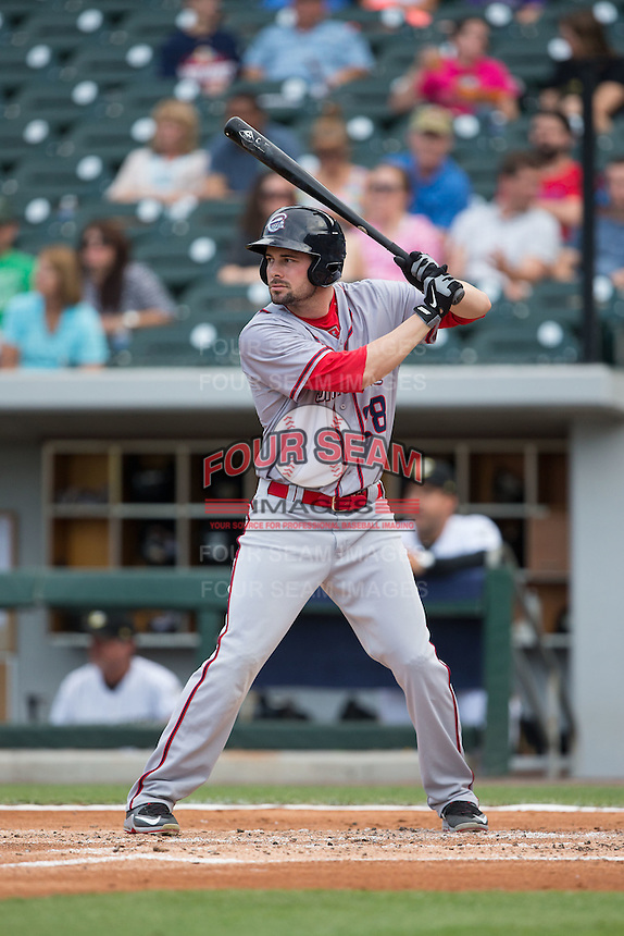 Caleb Ramsey (28) of the Syracuse Chiefs at bat against the Charlotte Knights at BB&T BallPark on June 1, 2016 in Charlotte, North Carolina.  The Knights defeated the Chiefs 5-3.  (Brian Westerholt/Four Seam Images)