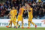 Barcelona´s Luis Suarez celebrates a goal with Neymar Jr and Munir during 2015-16 La Liga match between Getafe and Barcelona FC at Coliseum Alfonso Perez stadium in Madrid, Spain. October 31, 2015. (ALTERPHOTOS/Victor Blanco)
