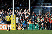 Toby Flood of Leicester Tigers takes the winning kick as Harlequins vainly attempt to block it  during the Aviva Premiership match between Harlequins and Leicester Tigers at The Twickenham Stoop on Saturday 21st April 2012 (Photo by Rob Munro)