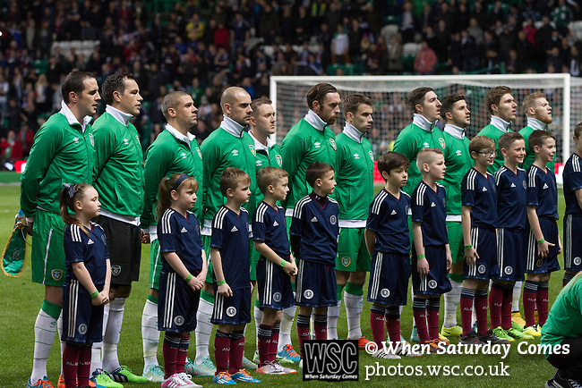 Scotland 1 Republic of Ireland 0, 14/11/2014. Celtic Park, European Championship qualifying. The Irish team singing their national anthem before the European Championship qualifying match between Scotland and the Republic of Ireland at Celtic Park, Glasgow. Scotland won the match by one goal to nil, scored by Shaun Maloney 16 minutes from time. The match was watched by 55,000 at Celtic Park, the venue chosen to host the match due to Hampden Park's unavailability following the 2014 Commonwealth Games. Photo by Colin McPherson.