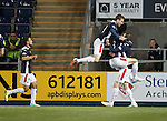 Rory Loy celebrates his goal with Blair Alston and Lule Leahy