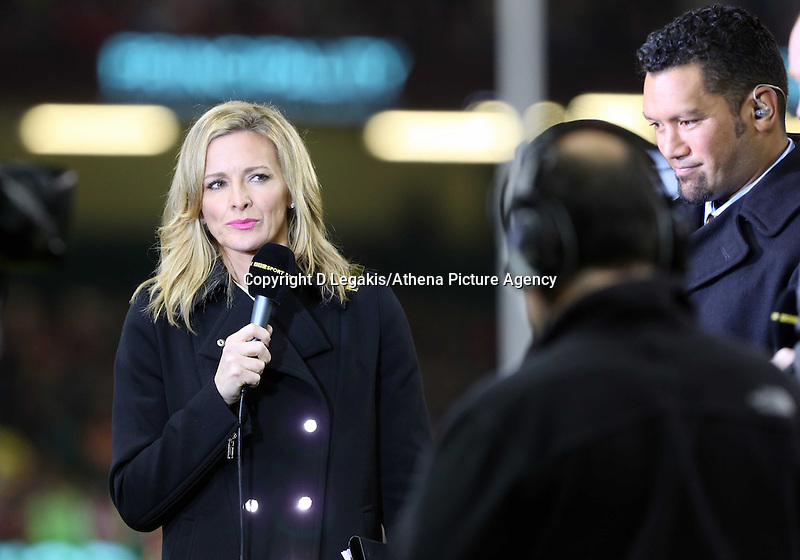 Pictured: BBC Sports tv presenter Gabby Logan. Saturday 15 November 2014<br /> Re: Dove Men Series rugby, Wales v Fiji at the Millennium Stadium, Cardiff, south Wales, UK.