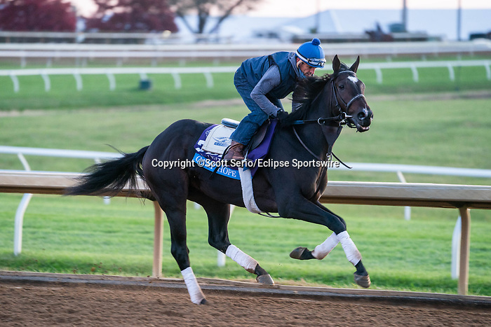 November 5, 2020: Camp Hope, trained by trainer Kenneth G. McPeek, exercises in preparation for the Breeders' Cup Juvenile at Keeneland Racetrack in Lexington, Kentucky on November 5, 2020. Scott Serio/Eclipse Sportswire/Breeders Cup/CSM